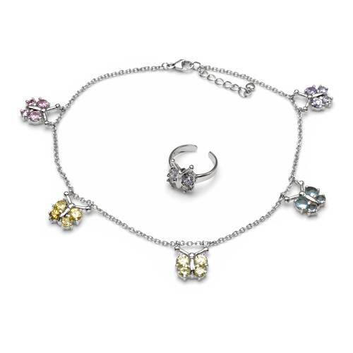 Lauren G. Adams Sterling Silver 4.56 CTW Cubic Zirconias Ladies Jewelry Set. Length 9.5 in. Total Item weight 8.8 g.