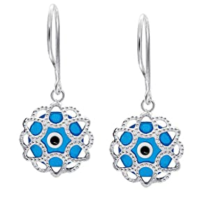 Bling Jewelry Blue Evil Eye Filigree Drop Earrings 925 Sterling Silver