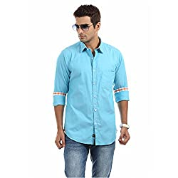 Sting Blue Solid Slim Fit Full sleeve Casual Shirt for Men