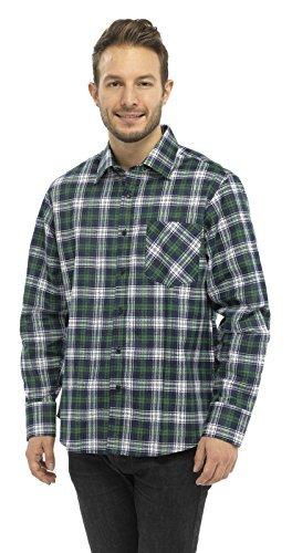 Herren Flanell Kariertes Langärmeliges Hemd Lumberjack Works 100% Baumwolle Freizeit - Herren, Storm Grün, X-Large