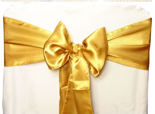Gold Satin Wedding Chair Sash Bows (Set of 10)
