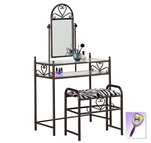 New Black Finish Make Up Sweetheart Vanity Table With Mirror & Black & Black Zebra Faux Fur Themed Bench Includes Free Purse & Hand Mirror! front-234427