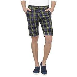 Origin Green Cotton Checkered Capris for Men