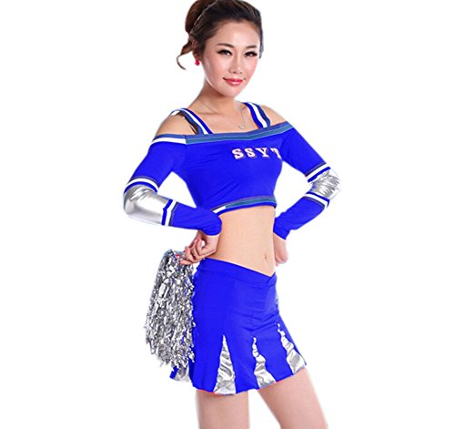 Cheerleader Costume/ Cheerleading Uniform/ Cheerleading Outfit Size L (Blue)