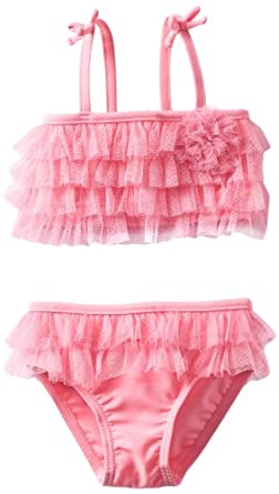 Little Me Baby-girls Infant Ruffle 2 Piece Swimsuit, Pink, 24 Months