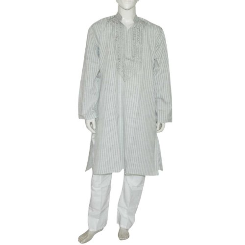 Mens Yoga Clothing Embroidered Kurta Pajama Long Sleeve Cotton Dress Chest 107 Cms (L/42)