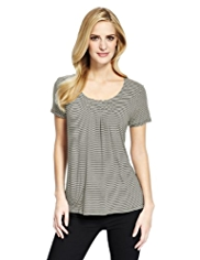 M&S Collection 7 Pleat Striped Top with StayNEW™