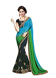 Bikaw Embroidered Blue Georgette Party Wear Saree - BT-5107-TBL