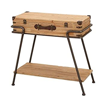 Deco 79 Accent Collection Metal Wood Chest Table, 32 x 13 x 30-Inch, Brown