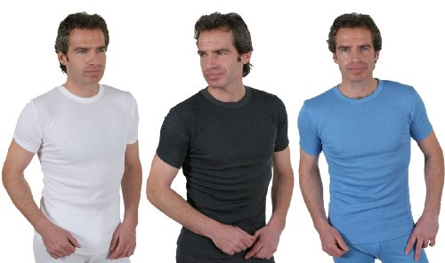 Set Of 3 Colours Mens Thermal Underwear Short Sleeve T-Shirt, Choice Of Sizes