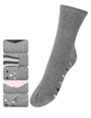 5 Pairs of Cotton Rich Freshfeet™ Heart Sole Socks with Silver Technology
