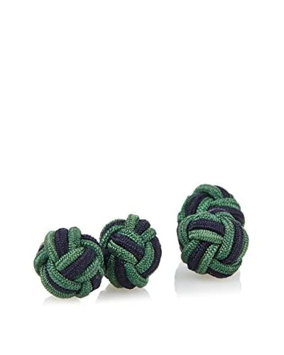 J. McLaughlin Men's Green & Navy Braided Silk Knot Cufflink