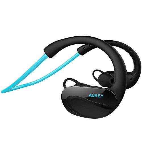 AUKEY Auricolare Stereo In Ear Bluetooth 4.1 Cuffie Wireless per lo Sport con Microfono a Vivavoce per iPhone, Samsung, HTC, Sony, iPad e altri Smartphone e Tablet (EP-B34, Blu)