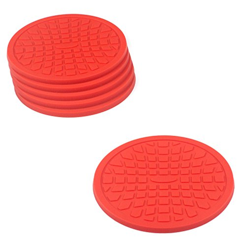 Coasters by Simple Coasters - The Best Drink Coasters and Bar Drink Coasters - These Coasters for Drinks Won't Stick to Your Glass - For Indoors or Outdoors - Great for Hot or Cold Beverages (Red) (Red Coasters compare prices)