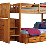 New Energy Honey Staircase Bunk Bed Twin Over Full