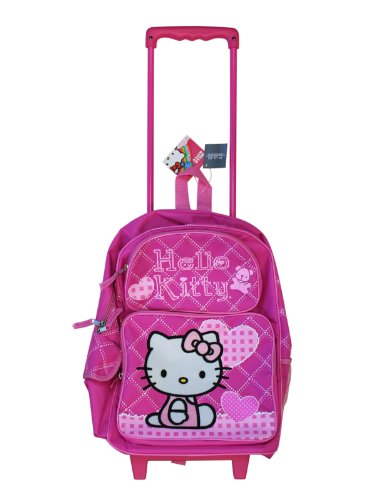 Full Size Pink Hearts Hello Kitty Rolling Backpack