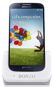 Donzo USB Dockingstation für Samsung Galaxy S4 GT-I9500/GT-I9505 mit USB Datenkabel/Ladegerät weiß