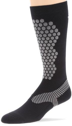 2XU Women's Elite Compression Alpine Sock, Black/Grey, X-Small Alpine Stripe