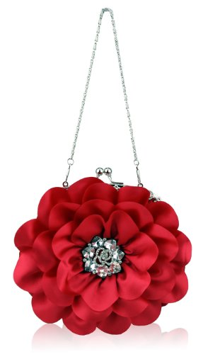 Ladies Red Rose Petals Diamantes Evening Clutch Bag