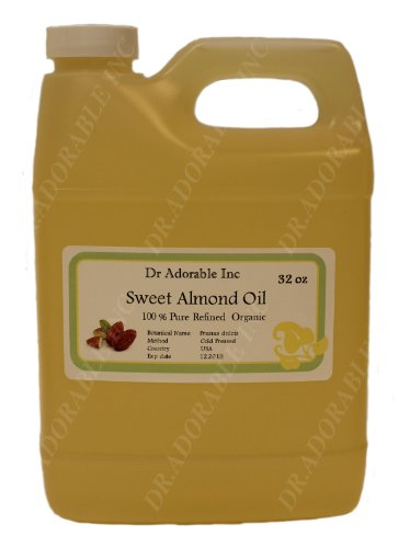 Sweet Almond Oil Organic Pure Cold Pressed By Dr.Adorable 32 Oz/1 Quart front-831879