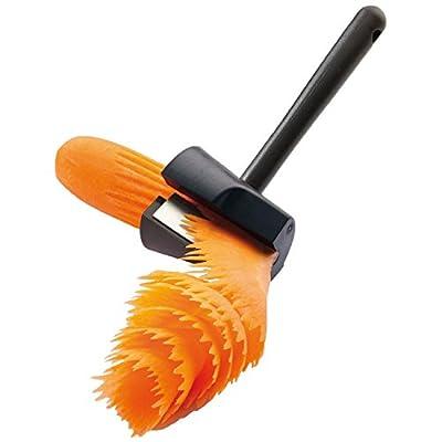 MLVOC Easy Carrot Curler Multi-functional Vegetable Sharpener and Peeler Carrot Flower Maker Color Black