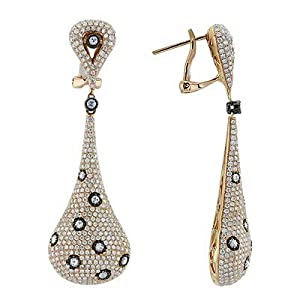 Brilliant Pave Set Diamond Designer Earrings In 18K Rose Gold