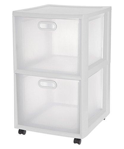 Sterilite Clear and White Frame Storage 2 Chest Drawer Organizer Cart Unit (Sterilite Modular System compare prices)