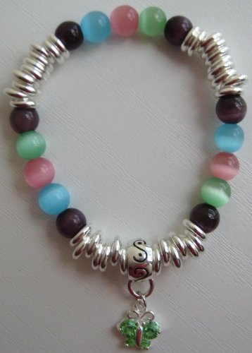 Unique Hand-Made Multi Links Cat's Eye Semi Precious Stone Bracelet with Crystal Butterfly Charm - Elasticated - L15