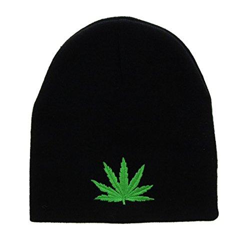Milani-Marijuana-Leaf-Embroidery-Embroidered-Short-Beanie-Skull-Cap-Hat-Black