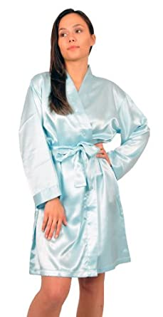 Satin's Robe, Style#gwn11, Sizes (S, M, L, XL), Colors (Ivory, Aqua, Royal Blue) (Small, Aqua)