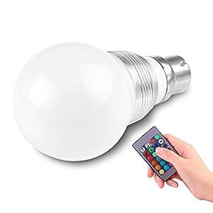 LemonBest® 3W B22 16 Colours Changing RGB LED Light Bayonet Bulb with Remote Control Lamp AC85-240V from LemonTop
