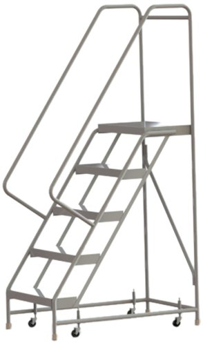 Tri-Arc WLAR105244 5-Step All-Welded Aluminum Rolling Industrial & Warehouse Ladder with Handrail, Ribbed Tread, 24-Inch Wide Steps