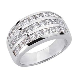 14k White Trendy 2.45 Ct Diamond Band Ring - Size 7.0 - JewelryWeb