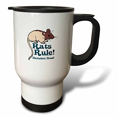 3dRose tm_12490_1 Rats Rule Travel Mug, 14-Ounce, Stainless Steel