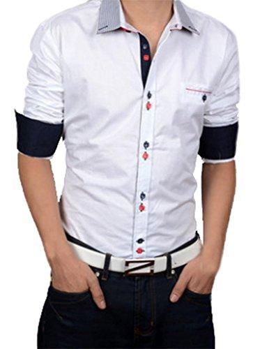 Gillbro nuovo modo di lusso del Mens casuali dimagriscono le camice di vestito alla moda, Bianco, L