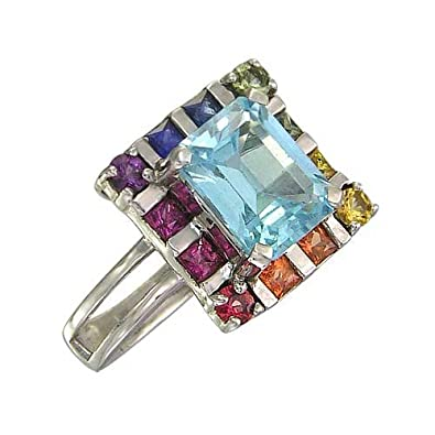Rainbow Sapphire & Blue Topaz Rubix Cube Ring 925 Sterling Silver (3.26ct tw)