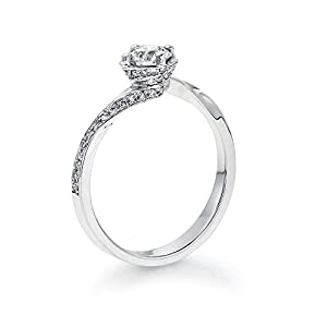 Certified, Round Cut, Solitaire Diamond Ring in 14K Gold / White (1/2 ct, J Color, I1 Clarity)