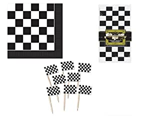 RACING Car/Checkered Flag PARTY Table DECOR/DECORATIONS/TABLECLOTH/Appetizer PICKS/Luncheon NAPKINS/INDY 500/NASCAR/RACE