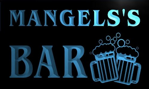 W020212-B Mangels'S Name Home Bar Pub Beer Mugs Cheers Neon Light Sign