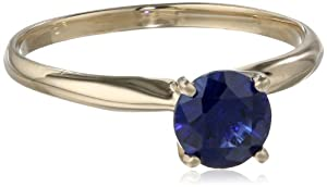 10k Yellow Gold 6mm Round Created Blue Sapphire 4-Prong Solitaire Ring, Size 7