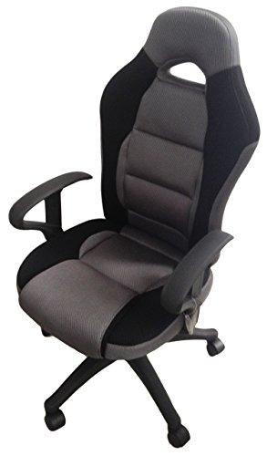 GRAU SCHWARZ Drehstuhl Bürostuhl Chefsessel Schreibtischstuhl Racing Sportlich Markenware von COLLANI