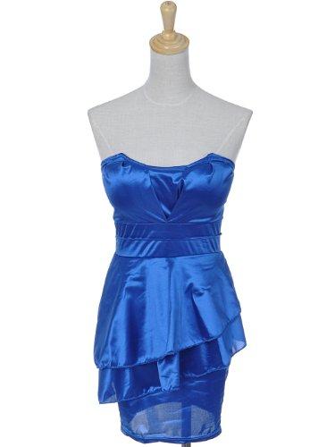 Anna-Kaci S/M Fit Shimmery Sea Blue Tulip Bust Peplum Strapless Tube Top Dress