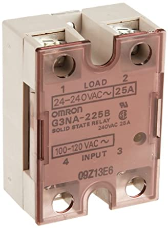 Omron G3NA-225B AC100-120 Solid State Relay, Zero Cross Function, Yellow Indicator, Photocoupler Isolation, 25 A Rated Load Current, 24 to 240 VAC Rated Load Voltage, 100 to 120 VAC Input Voltage