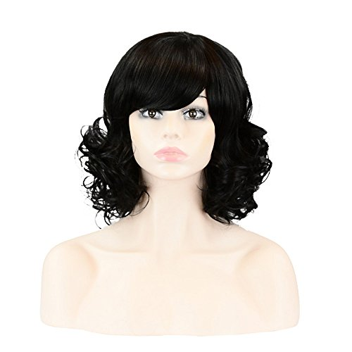 [PINKISS Women's Premium Fashion Hair Replacement Wig with Super Breathable Wig Cap (MC108 1#Black)] (Black Beehive Wig)