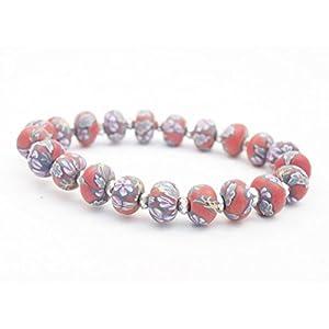 Bracelet élastique perles rouges fimo fleurs et perle cristal