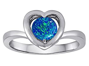 Original Star K(tm) Heart Engagement Promise of Love Ring with 7mm Round Created Blue Opal in 925 Sterling Silver Size 5