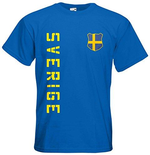 Schweden Sverige EM 2016 T-Shirt Trikot (Royalblau, XL)