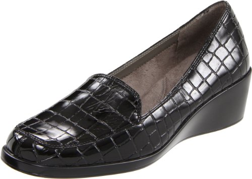 Aerosoles Women's Final Exam Loafer,Black Patent Croc,9 M US