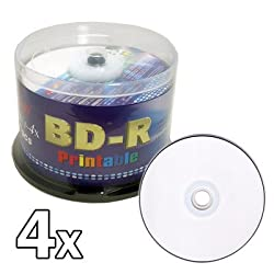 Melody 50 pcs Premium 1-4x BD-R Blu-ray Recordable White Inkjet Printable Blank Disc, 25GB. Made in Taiwan.