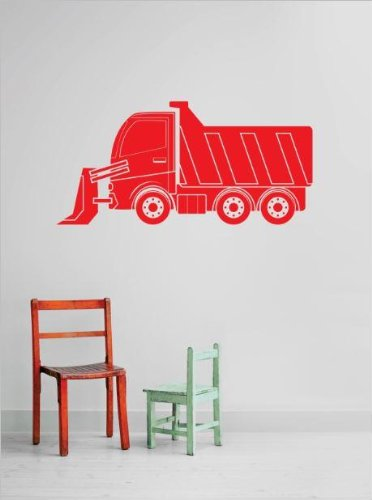 Vinyl Wall Decal Sticker : Tractor Dump Truck Demolish Demolition Construction Operation Equipment Kids Boys Tools Bedroom Bathroom Living Room Picture Art Peel & Stick Mural - Discounted Sale Price Size: : 20 Inches X 40 Inches - 22 Colors Available